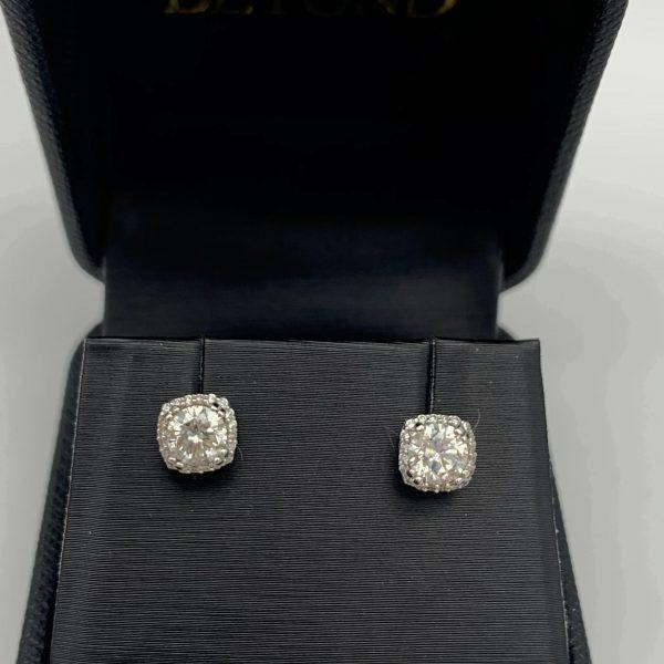 Diamond & Gold Earrings 1.00 CTW 18k White Gold