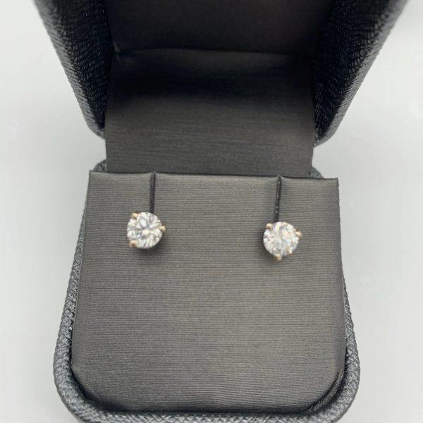 Diamond & Gold Earrings 1.09 CTW 14k White Gold