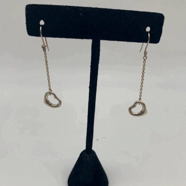 Tiffany & Co Elsa Peretti Open Heart Hook Dangling Drop Earrings Silver